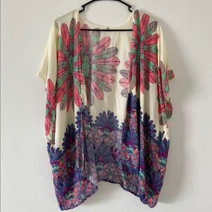 Flower kimono coverup